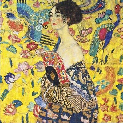 Gustav Klimt - Lady with Fan - 60X60CM Square Canvas Art Print Poster Unframed
