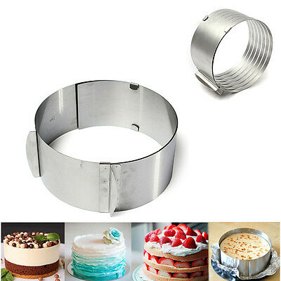 2 Styles Mousse Ring Adjustable Stainless Steel Cake Circular Mold Slicer Tool