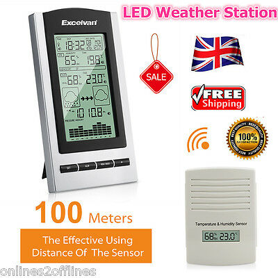 LED Weather Station Wireless Sensor Temperature Humidity Barometer Alarm Clock
