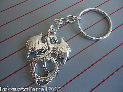 Chinese Winged Dragon Jewelry Silver Plated Alloy Pendant  Keyring