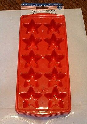 Stars-set of 2 Plastic Ice cube tray or Jello -NEW