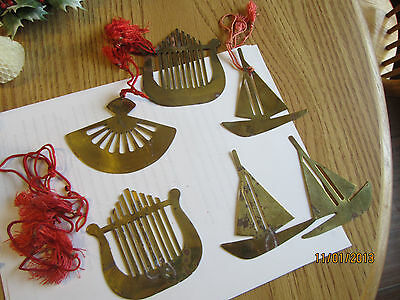 ANTIQUE (lot) 6 GOLD COLOR ORNAMENTS HARP SAILBOAT FAN w RED RIBBON STRING