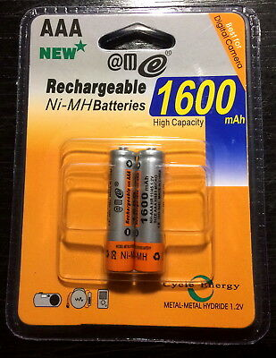 2pcs 1600mah NiMH AAA R03 rechargable battery