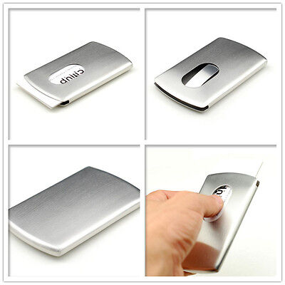 Business Card Holder Stainless Steel Metal Cards Case Cover Holders Silver Slim