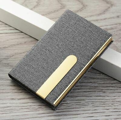 Business Card Holder Stainless Steel Case Leather Cover Man Woman Fashion New C8