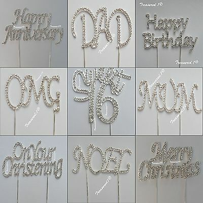 Cake Pick Topper Clear Diamante Rhinestone GEMS Mum Dad OMG Birthday Sweet 16