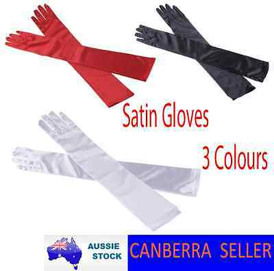 Ladies Long Satin Gloves Opera Costume Bridal Party 1920 Wedding Womens Glove AU