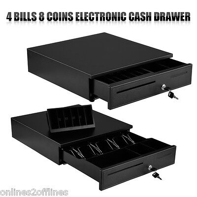 Professional Electronic Heavy Duty Cash Drawer Cash Register POS 4 Bill 8 Coins
