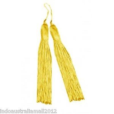 Pair of Chinese Yellow Polyester 140mm Tassels For Hanging in your Car (TS002)