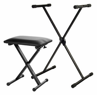 Professional X Keyboard Piano Stand Adjustable Set with Piano Stool Seat Bench