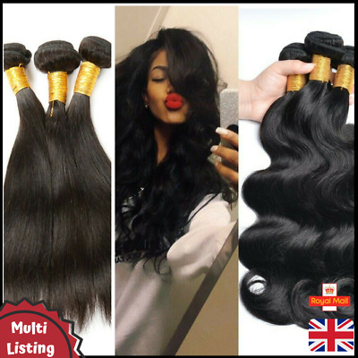 9A Soft Unprocessed Thick Brazilian Virgin Human Hair Weave Extension Bundles UK