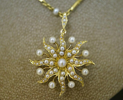 Antique 15ct Yellow Gold & Seed Pearl Star Brooch / Pendant & Chain - Circa 1900