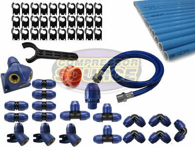 """Quick Line 100 ft 3/4"""" Compressed Air Aluminum Piping Complete System Tubing Kit"""