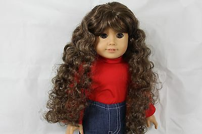 """""""GINA"""" WIG SIZE 10-11, Lt BROWN MODELED SNUGGLY ON AN AMERICAN GIRL DOLL"""