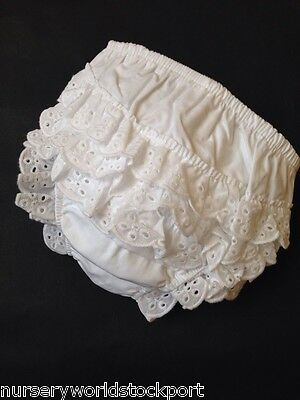 baby babies girls 100% COTTON WHITE FRILLY KNICKERS pants frills frill 0-6-12-18