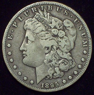 1895 S Morgan Dollar SILVER KEY DATE COIN Authentic VF Detailing US Coin