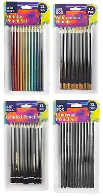 12 Pcs Charcoal Watercolour Metalic Graded Pencils Artists Tin Case Colour