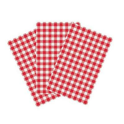 Greaseproof Paper, Gingham / Check Red & White, 190 x 310mm, Pkt 200