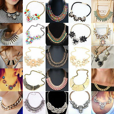 Women's Fashion Charm Pendant Chain Crystal Choker Chunky Bib Statement Necklace