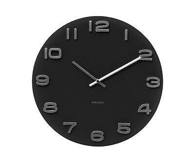 Karlsson KA4401 Round Retro Mirror Style Black Glass Wall Clock Chrome Numbers