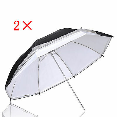 "2×33"" White Satin Umbrella with Removable Black Cover Photo Studio Lighting New"
