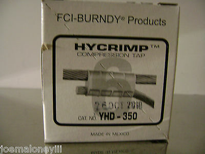 Burndy Hycrimp Yhd-350 Compression Tap Connectors 25 Ct / Case