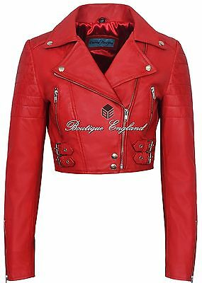 d33343cd95c Ladies Biker Short Body Leather Jacket RED Biker Style 100% REAL LEATHER  5625
