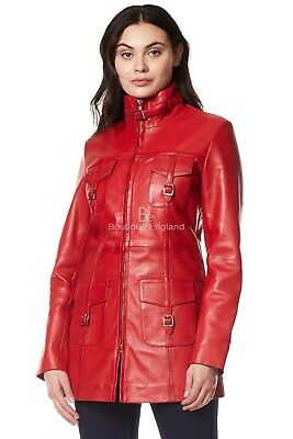 Ladies Zip up Leather Jacket Mid Length Slim Fit Style Casual Coat Red 1310