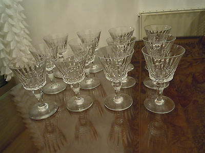 "12  Baccarat France. Model ""Picadilly"" . White wine Goblets glasses."