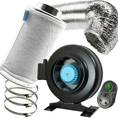 """5"""" PRO Air Odour Control Kit: Vortex Extractor In-Line Fan Carbon Filter Ducting"""