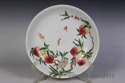 Fine Beautiful Rare Chinese Famille Rose Porcelain Peaches Plate