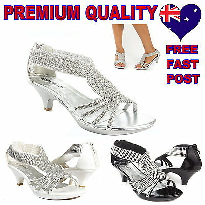Womens Heels Shoes, Party Evening Bridal Bridesmaid Wedding, Black, White Silver