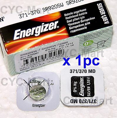 1 pc Energizer 371 SR920SW Silver Oxide Watch Battery Made in USA FREE POST WW