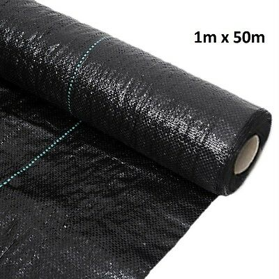 1M x 50M Woven Heavy Duty Weed Control Membrane Fabric Ground Cover Mulch 100gms