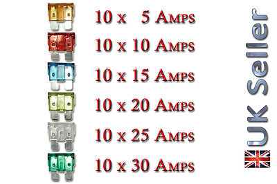 60x Pcs REGULAR Mixed Mix Auto 5A Amp Fuse Car Van Truck  5A 10A 15A 20A 25A 30A