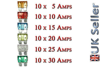 60x Pc STANDARD Mixed Mix Auto 5A Amp Fuse Car Van Truck  5A 10A 15A 20A 25A 30A