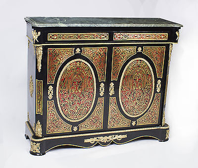 Louis XVI Boulle Style Marble Top Pier Cabinet