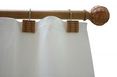 Bamboo Wood Shower Curtain Tension Rod and Hook Set w 12 hooks, 48-72 inch