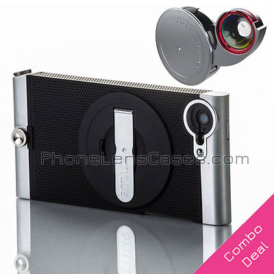 4-in-1 Fisheye+Wide Angle & More Camera Lens + Case for Apple iPhone 5/5s Combo