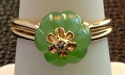 This Unique 14K Jade & Diamond Tip ring. Great For Jade Lovers