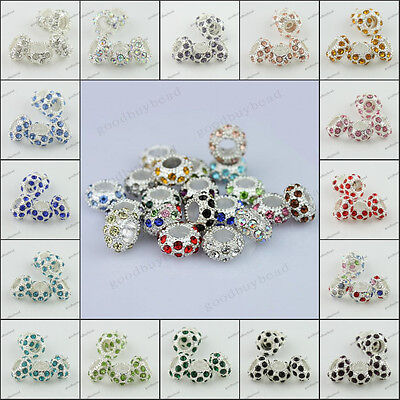Crystal Rhinestone Pave Silver Rondelle Big Hole Spacer Beads Fit European Charm