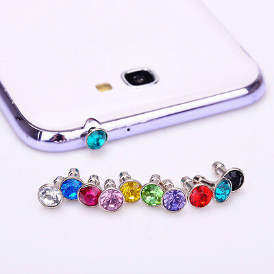 10x Diamond Gem Anti Dust Plug Earphone Dust Cap For iPod iPhone 4 5 6 plus Sony