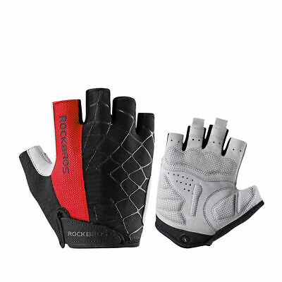 RockBros Bicycle Cycling Half Finger Gloves Fingerless Gloves Gel Pad Green