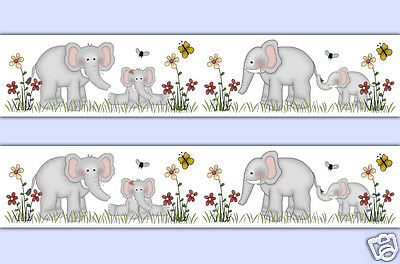 Elephant Wallpaper Border Wall Decals Baby Jungle Safari Nursery Stickers Decor