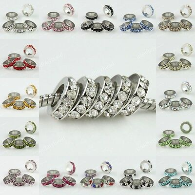 Lots Crystal Color Rhinestone Spacer European Big Hole Charms Beads Fit Bracelet