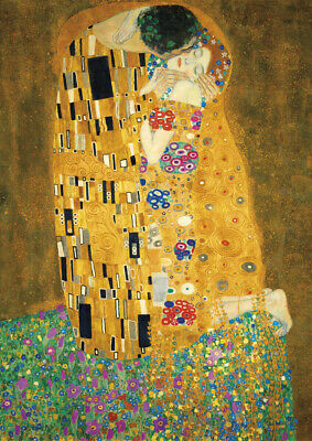 Gustav Klimt - The Kiss - A4 size 21x29.7cm QUALITY Canvas Art Print Unframed