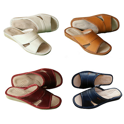 Womens 100% Natural Leather Slippers Mules Slip On Open Sandals Sheepskin Wool