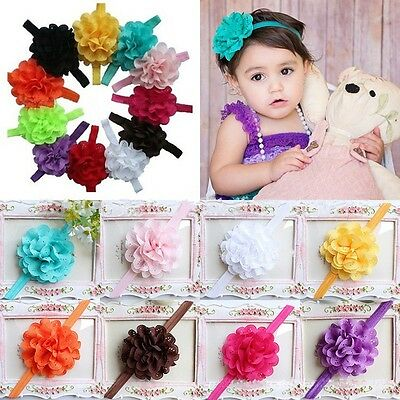 10pcs Cute Girl Baby Toddler Infant Flower Headband Hair Bow Band Accessories
