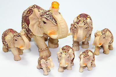 Feng Shui Set of 7 ~ Vintage Elephant Family Statues Figurines Gift Home Decor