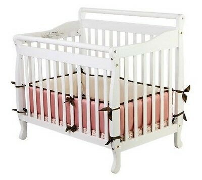 Convertible Baby Bed 3 IN 1 Mini Toddler Crib White Portable Nursery Kids New!